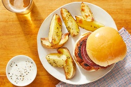 Pork Chorizo Burgers & Potato Wedges with Maple-Glazed Onion