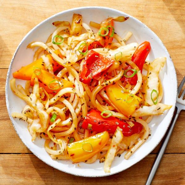 One-Pan Udon Noodle Stir-Fry with Vegetables & Kombu