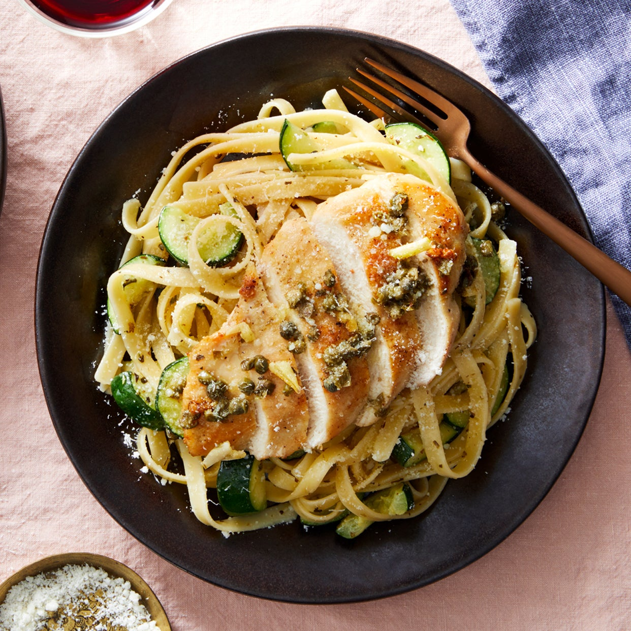 Garlic-Caper Chicken with Fettuccine & Zucchini