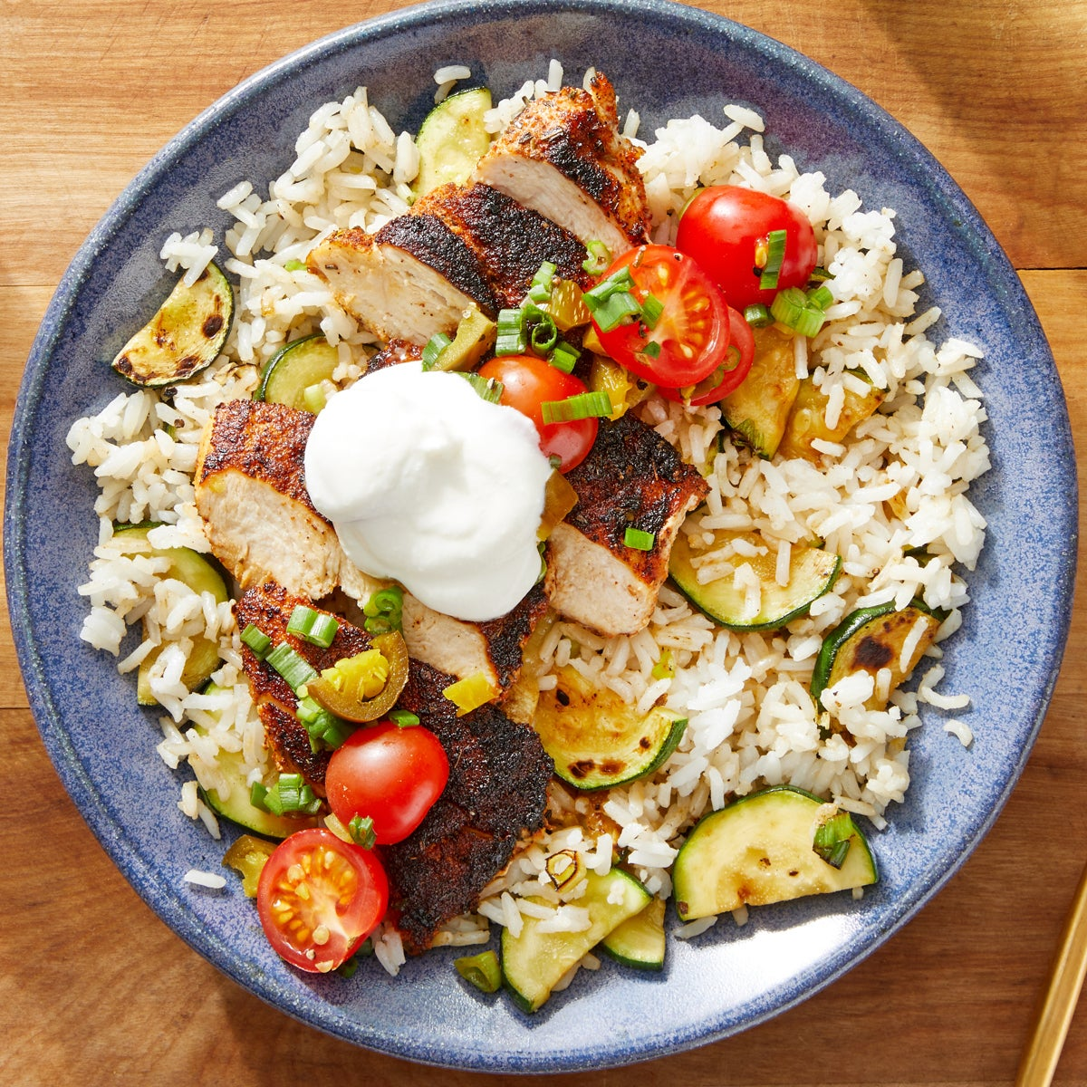 Mexican-Spiced Chicken & Zucchini Rice with Tomato & Jalapeño Salsa