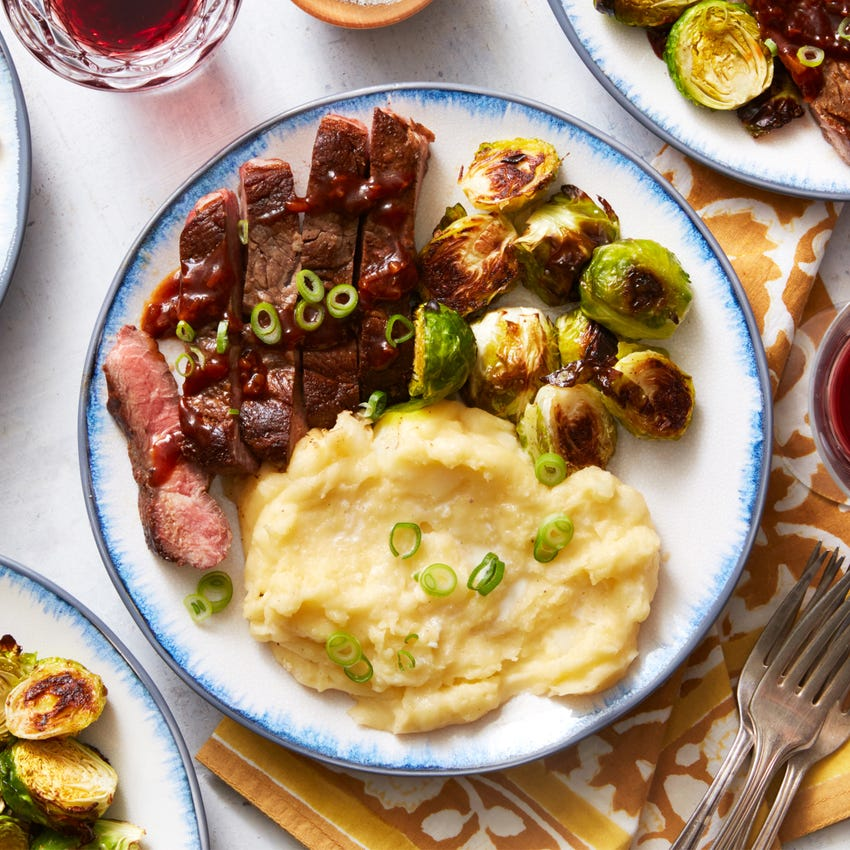 Seared Steaks & Mashed Potatoes with Roasted Brussels Sprouts & Steak Sauce