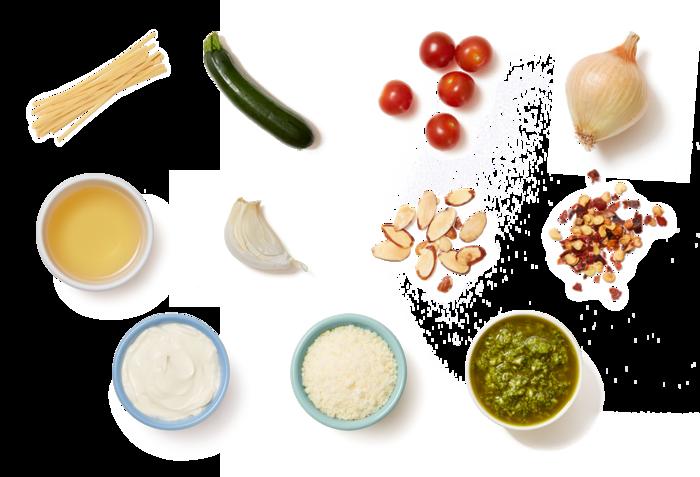 Fettuccine & Salsa Verde with Zucchini, Almonds & Pecorino Cheese