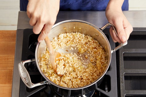 Chop the shiitake mushrooms & start the risotto: