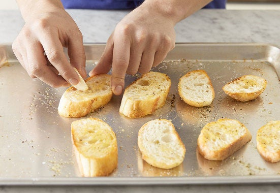 Make the garlic toasts & serve your dish: