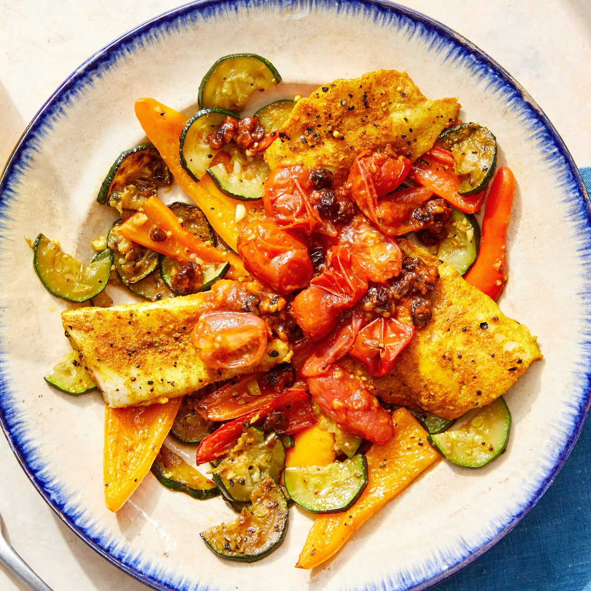 Indian-Style Baked Fish with Zucchini, Peppers & Tomato-Currant Chutney