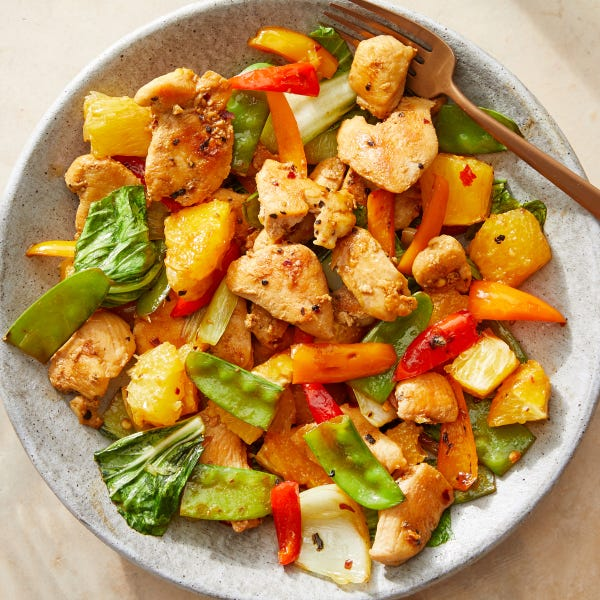 Orange Chicken Stir-Fry with Bok Choy & Snow Peas