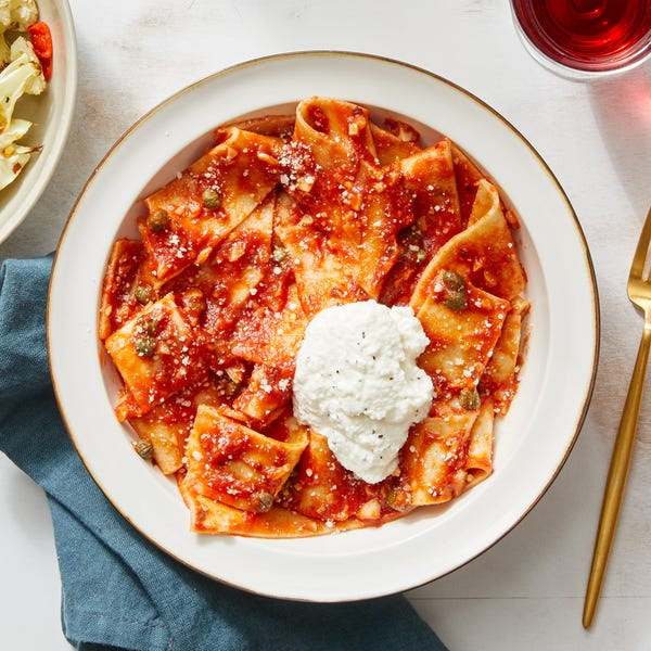 Pappardelle in Tomato Sauce with Roasted Cauliflower & Hot Honey