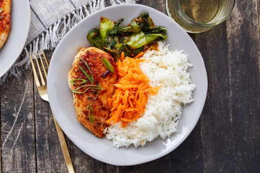 Chicken Yakiniku with Sesame-Marinated Carrots & Garlic Rice