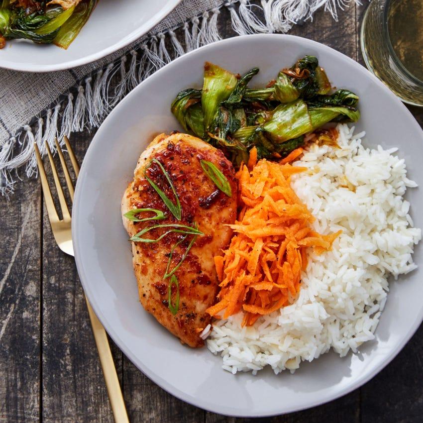 Chicken Yakiniku with Sesame-Marinated Carrots & Garlic Rice
