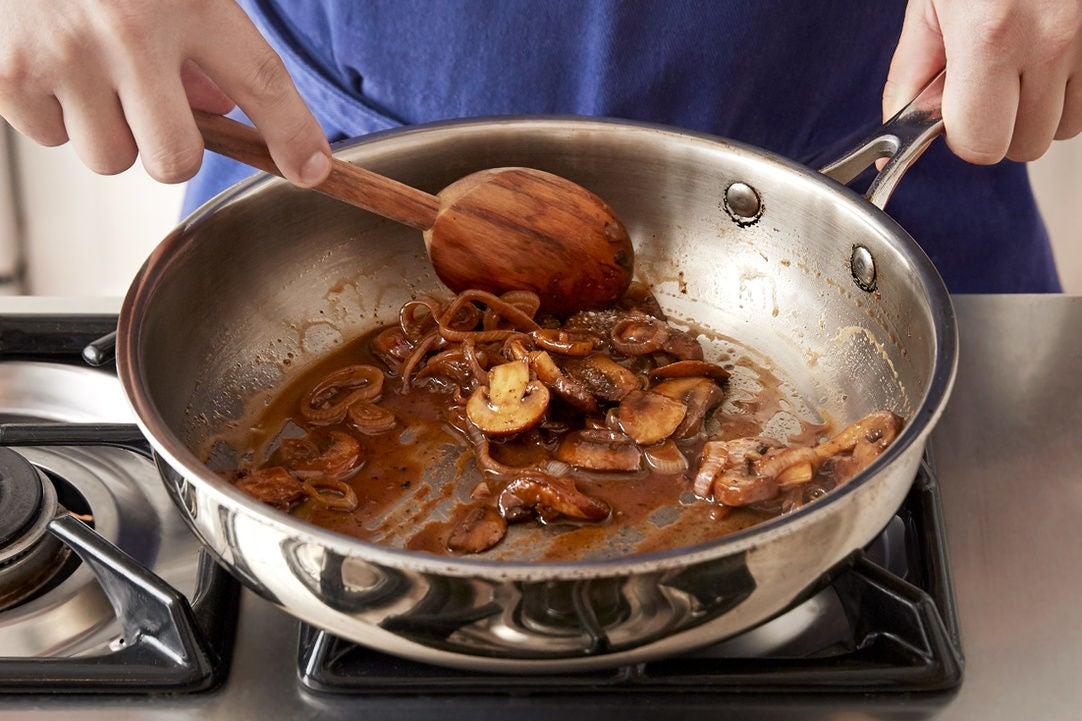 Cook & glaze the mushrooms: