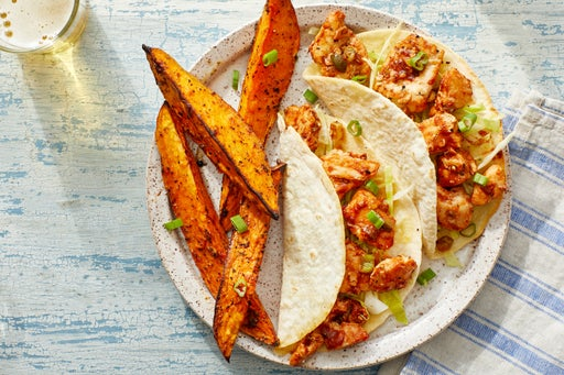 BBQ Chicken Tacos with Cabbage Slaw & Roasted Sweet Potatoes