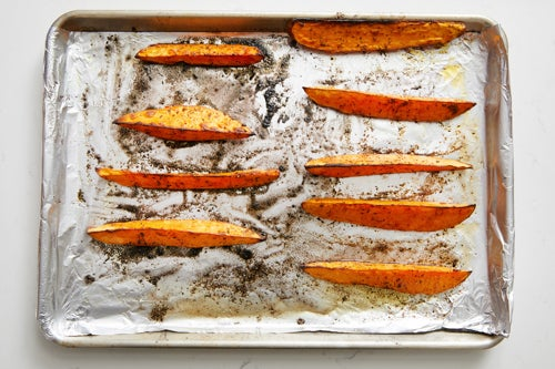 Prepare & roast the sweet potatoes:
