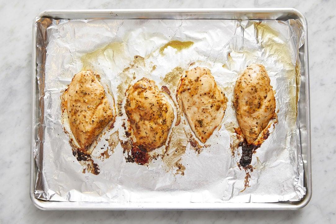 Make the dressing & bake the chicken: