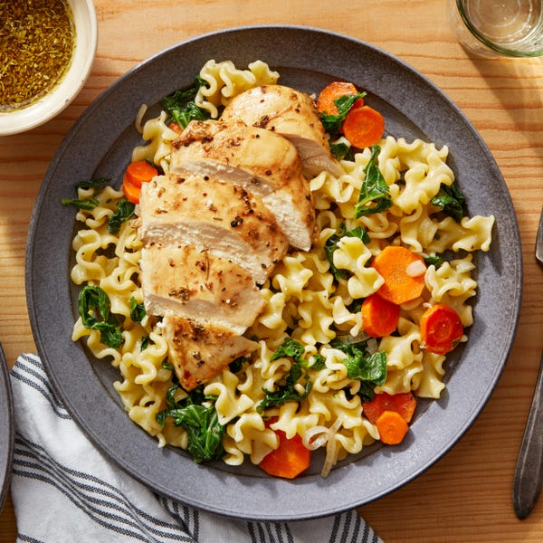 Baked Chicken & Mafalda Pasta with Honey & Balsamic Vinegar Dressing