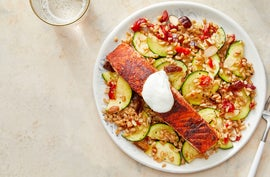 Seared Salmon with Zucchini, Date, & Pepper Farro