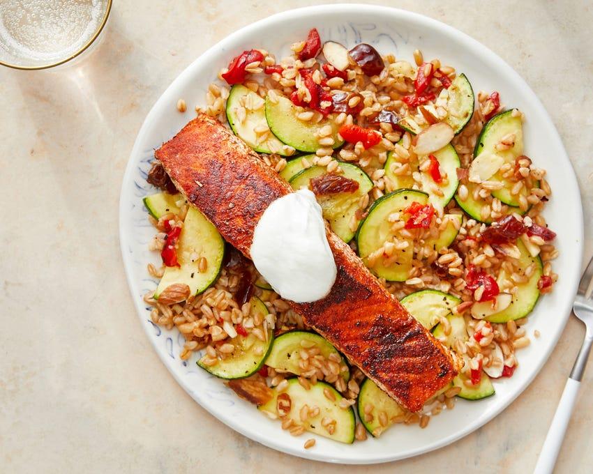 Seared Salmon with Zucchini, Date, & Pepper Farro