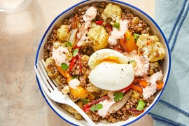 Mediterranean Lentil Bowl with Roasted Cauliflower, Peppers, & Yogurt Dressing