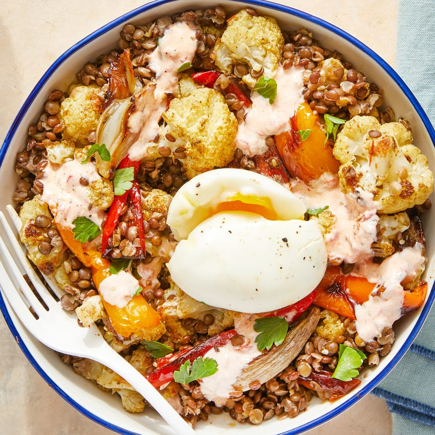Mediterranean Lentil Bowl with Roasted Cauliflower, Peppers, & Yogurt Dressing