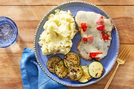 Fontina-Smothered Chicken with Zucchini & Mashed Potatoes
