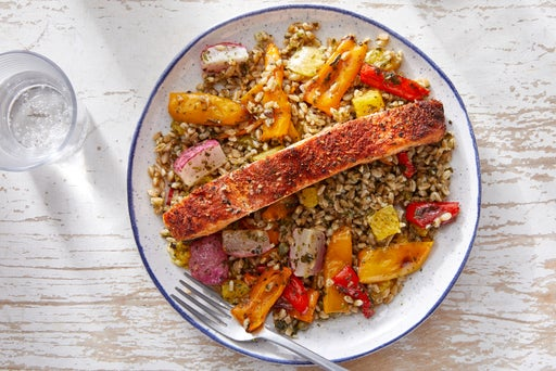 Spanish-Spiced Salmon & Farro with Roasted Vegetables  & Salsa Verde