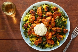 Smoky Chicken & Aioli with Saffron Rice & Olives