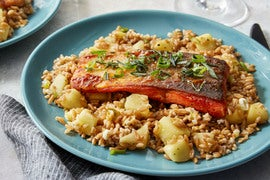 Tangelo & Honey-Glazed Salmon with Farro, Apple & Crispy Rosemary