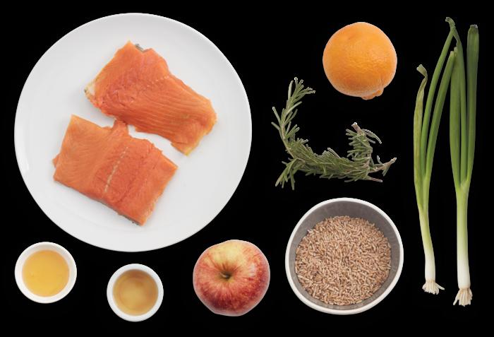 Tangelo & Honey-Glazed Salmon with Farro, Apple & Crispy Rosemary