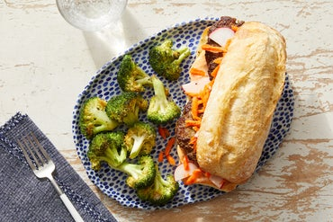 Bánh Mì-Style Beef Burgers with Sesame-Roasted Broccoli