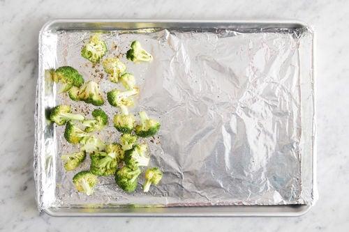 Prepare & roast the broccoli: