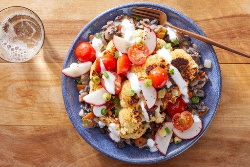 Chipotle-Roasted Cauliflower with Black Bean Mash & Fresh Tomato Salsa