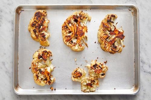 Prepare & roast the cauliflower or romanesco: