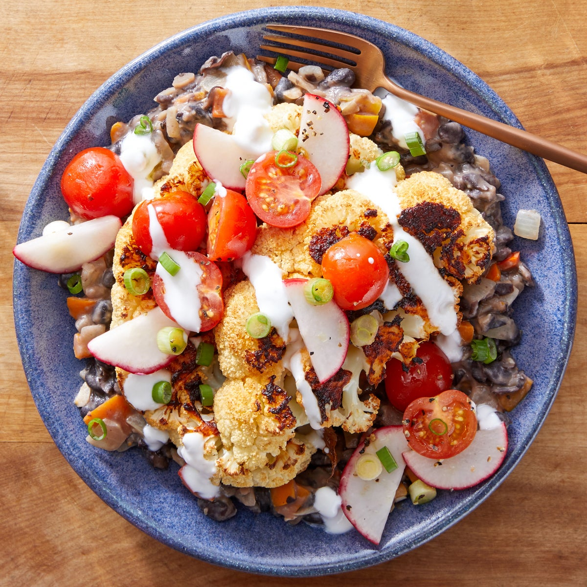 Chipotle-Roasted Cauliflower with Black Bean Mash & Fresh Tomato Salsa