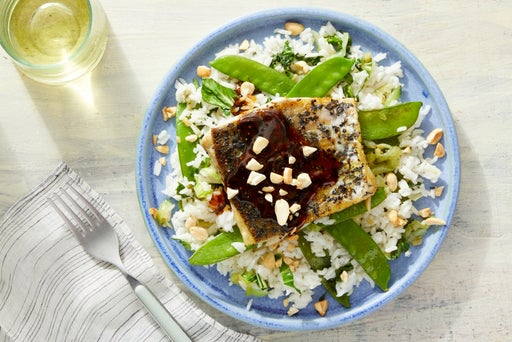 Soy-Orange Barramundi with Lemongrass Rice & Snow Peas