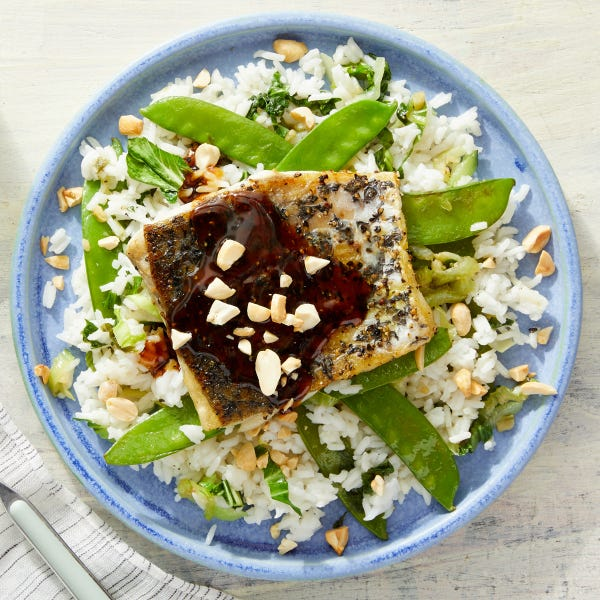 Soy-Orange Barramundi with Lemongrass Rice & Snow Peas
