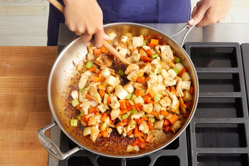 Cook the chicken & vegetables: