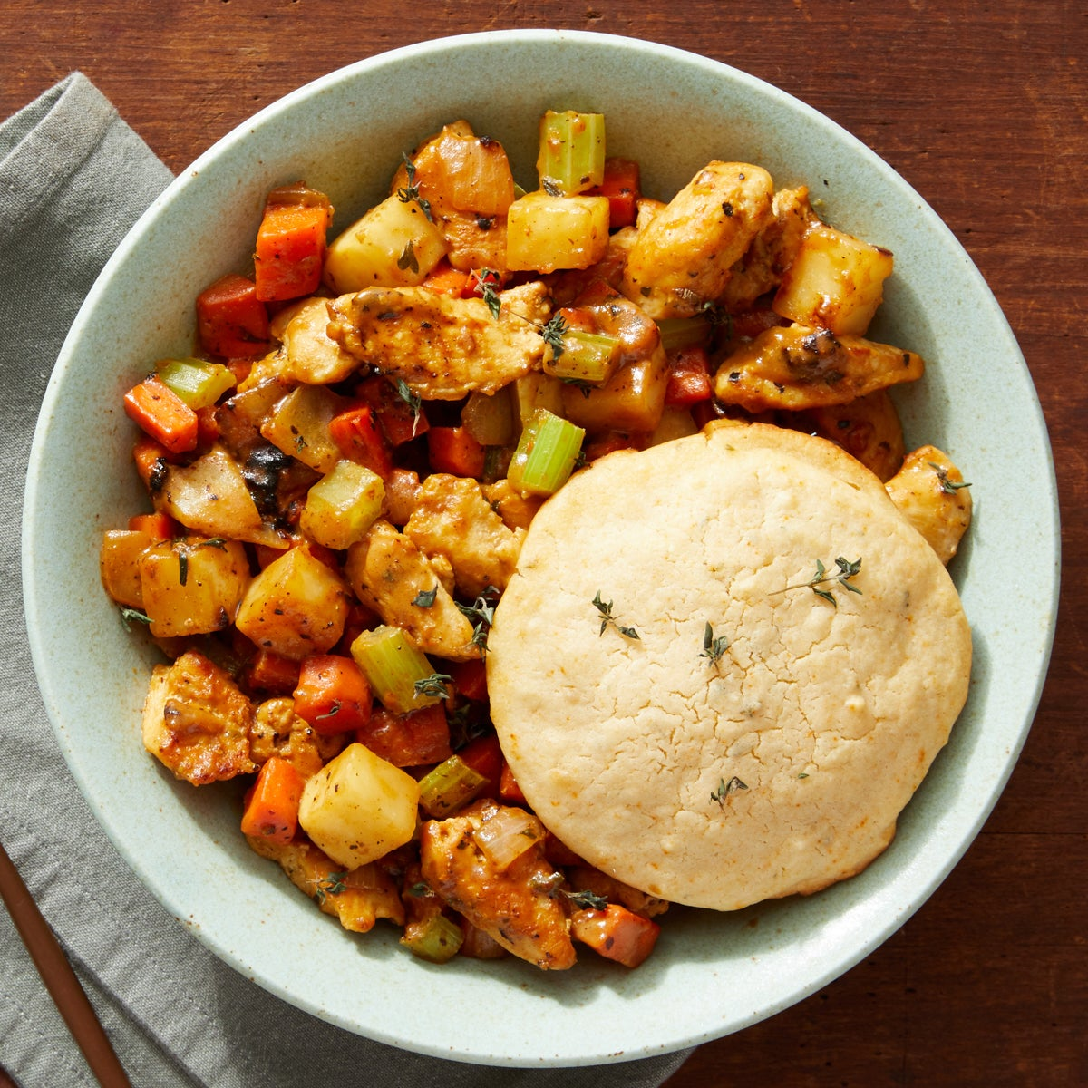 Country-Style Chicken & Biscuits with Carrots, Celery, & Turnip