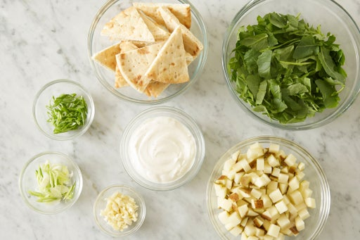 Prepare the ingredients & make the yogurt sauce: