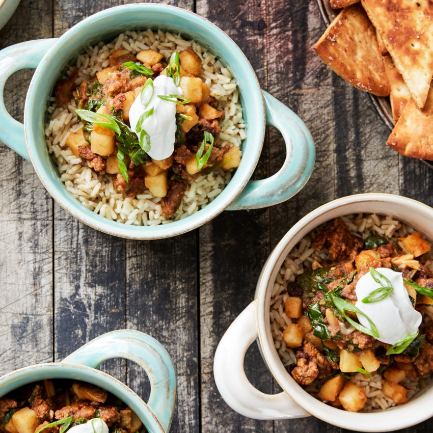 Moroccan-Spiced Lamb & Beef Tagine with Brown Rice & Pita Chips