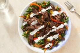 Beef & Black Bean Fajita Salad with Kale & Yogurt Dressing