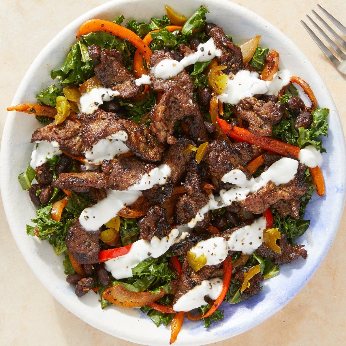 Beef & Black Bean Fajita Salad with Kale & Yogurt Dressing