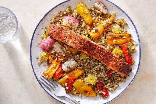 Roasted Salmon & Salsa Verde Farro with Roasted Vegetables