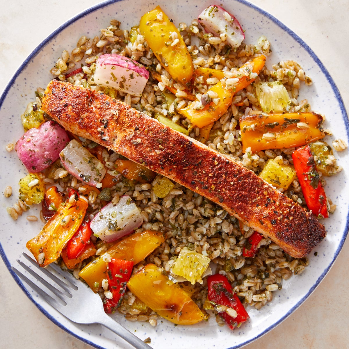 Roasted Salmon & Salsa Verde Farro with Roasted Vegetables