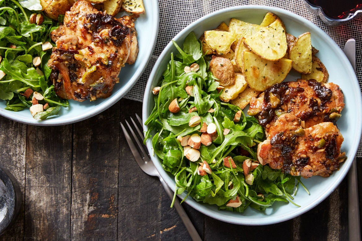 Greek Chicken with Olives, Oregano & Roasted Potatoes
