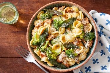 Hot Italian Pork Sausage & Orecchiette with Broccoli & Fried Sage