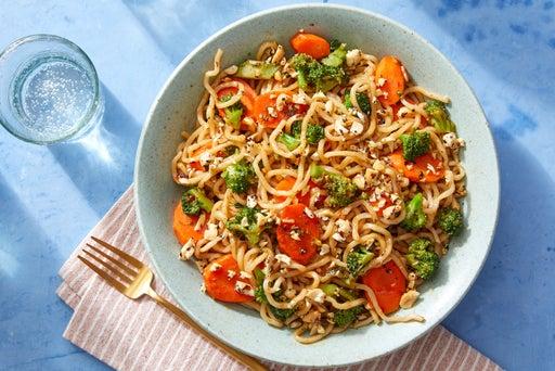 Vegetable Lo Mein with Furikake Peanuts