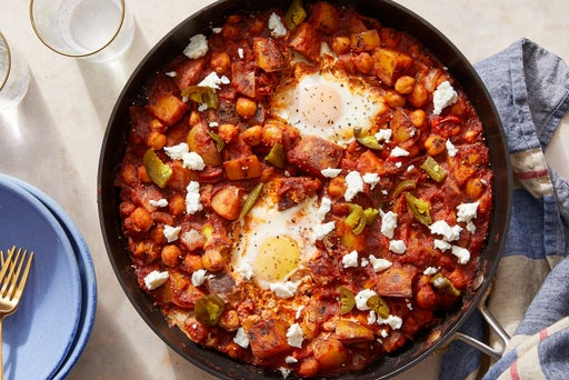Potato & Chickpea Shakshuka with Sweet Peppers  & Feta Cheese