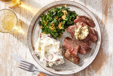 Caper Butter Steaks with Garlic Mashed Potatoes & Sautéed Kale