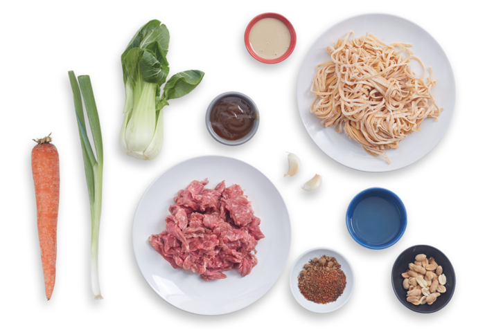 Spiced Beef Dan Dan Noodles with Bok Choy & Peanuts ingredients