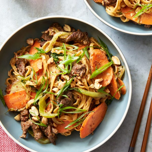 Spiced Beef Dan Dan Noodles with Bok Choy & Peanuts