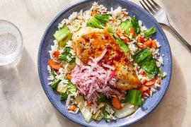 Sweet & Spicy Glazed Chicken with Jasmine Rice & Sautéed Vegetables